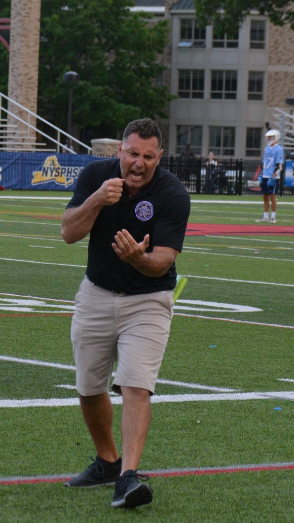 Christian Brothers Academy coach Ric Beardsley, a former standout at Lakeland, reacts to a missed scoring opportunity during Saturday's Class D final against Westlake.