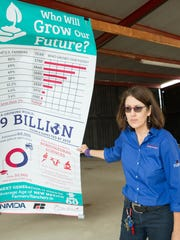 Traci Curry, the southern region director of New Mexico Ag in the Classroom, explains the need to educate school children on all the different career opportunities in agriculture during an AGventure career fair, which brought out more than 400 middle school students from surrounding cities and towns at the Southern New Mexico State Fair. Wednesday September 27, 2017.
