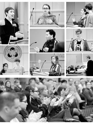 High school students overwhelmed school board chambers Wednesday in a public hearing about the upcoming calendar vote.