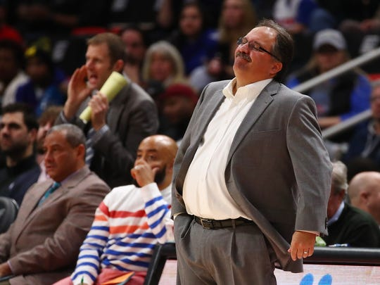 Pistons coach Stan Van Gundy reacts during the 118-103 loss to the Pelicans at Little Caesars Arena on Feb. 12, 2018.