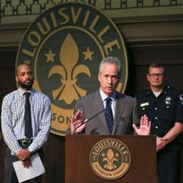 Louisville Mayor Greg Fischer at a press conference July 21 on public safety.