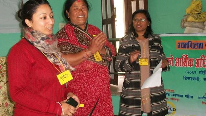 Volunteer Rabita Rajkarnikar of West Lafayette (left) is pictured with participants in the Women's Rights and Economic Development Forum in Nepal, which supports rural women in their quest for financial success.