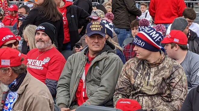 Crowds gather to hear President Donald Trump speak in Circleville on Saturday, Oct. 24