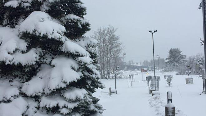 Snow fall pictured on Wednesday, May 1, 2019, in Michigan's Upper Peninsula. According to the National Weather Service, 3 to 4 inches fell as of Wednesday morning. About 6 to 7 inches is expected by the end of the day.