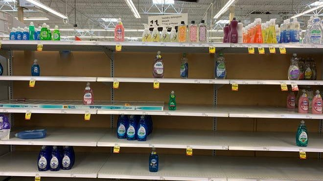 Detroit Meijers store is seen with some empty shelves as shoppers stock up on food and household supplies at the start of the pandemic in March. Local stores like Meijer are working to keep shelves stocked so there is not a repeat of the hoarding of household supplies that happened back in March.