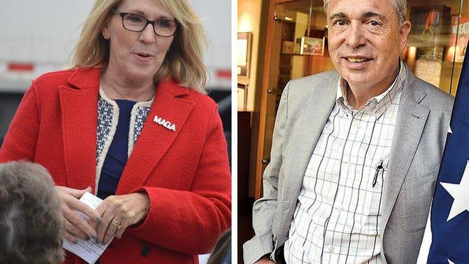 Incumbent Laura Cox, left, and Ron Weiser, the two candidates Saturday for chair of the Michigan Republican Party.