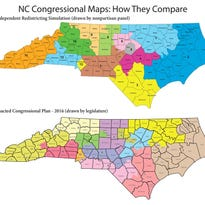 A proposed map of N.C. congressional districts, compared with the existing map.