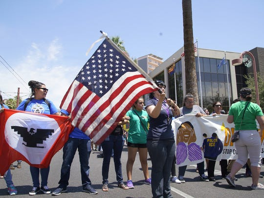 Immigrant-rights groups protest at ICE offices in Phoenix in June 2016.