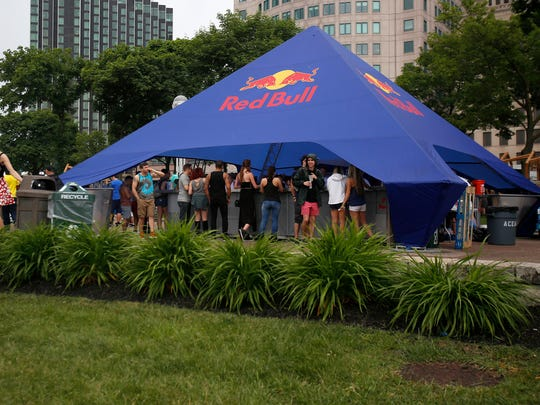 A Red Bull bar tent at Hart Plaza during the Movement festival on Sunday, May 28, 2017 in Detroit.