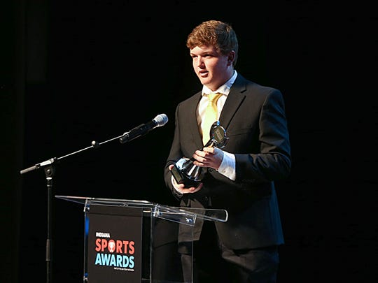 Patrick Fletchall of Carmel is the recipient of the boys tennis player of the year during the IndyStar Indiana Sports Awards at Clowes Memorial Hall on the campus of Butler University April 27, 2017.