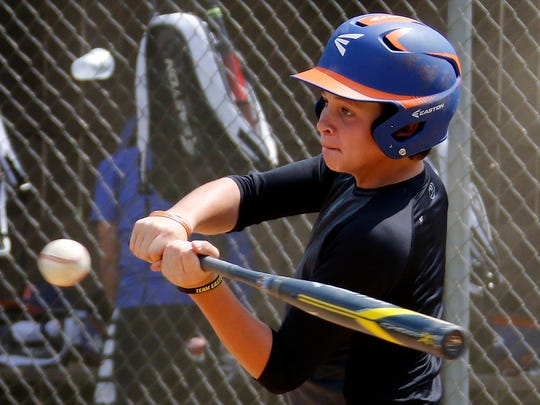 Grosse Pointe Woods-Shores' Drew Hill takes batting practice during a team practice in preparation for the Little League World Series Tournament in South Williamsport, Pa., Wednesday, Aug 16, 2017.