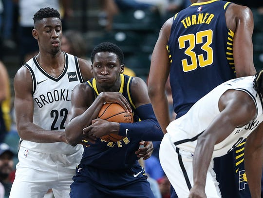 Indiana Pacers guard Victor Oladipo (4) protects the