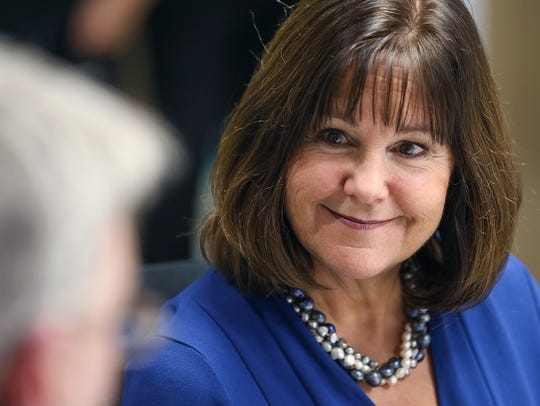 Second lady Karen Pence visits the IU Health Neuroscience Center in Indianapolis on Nov. 9, 2017.