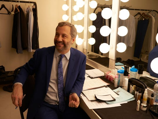 Judd Apatow gets ready to go on stage in Montreal for