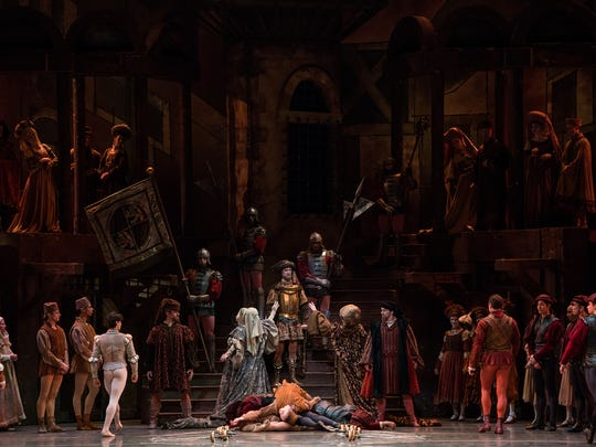 """A scene from Thursday's opening night presentation of American Ballet Theatre's production of Sir Kenneth MacMillan's """"Romeo and Juliet"""" at the Detroit Opera House. Performances continue through Feb. 11."""