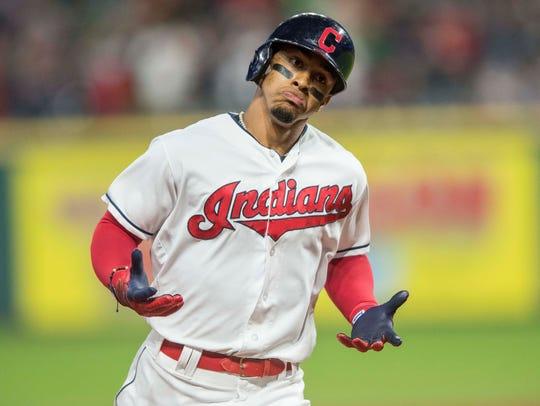 Cleveland Indians shortstop Francisco Lindor (12) rounds