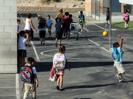 Students on the playground before the start of classes at  Rancho Mirage Elementary School on Thursday, August 11, 2016 in Rancho Mirage.