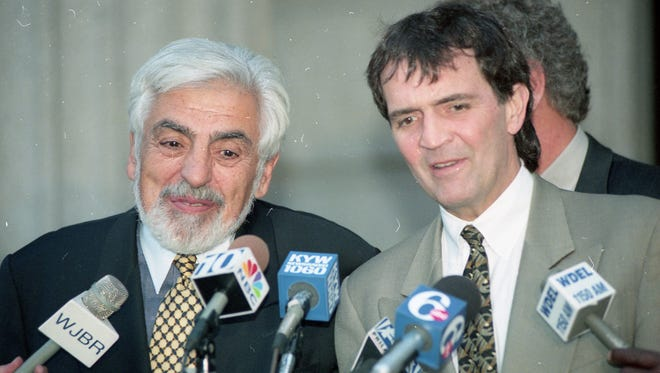 Attorneys for Thomas J. Capano, Joseph Oteri, left, and Eugene Maurer speak to the press during the  murder trial at the Wilmington Courthouse on November 9, 1998.