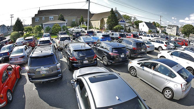 St. Ann by the Sea Church in Marshfield held a drive-in Mass Sunday, June 7. More than 100 cars were present.