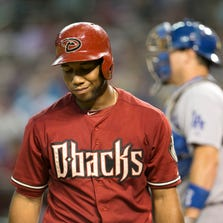 The Diamondbacks' Alfredo Marte looks on after striking out during the sixth inning of the MLB game against the Dodgers at Chase Field in Phoenix on Wednesday, August 27, 2014.