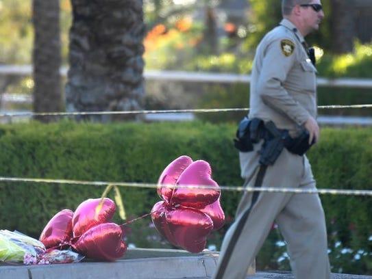 A makeshift memorial in Las Vegas