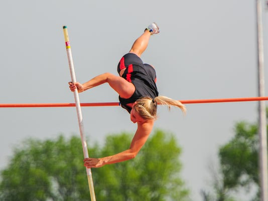 Central York's Alexis Baublitz finished third in the pole vault at the District 3 Class AAA track and field championships Saturday at Shippensburg University.