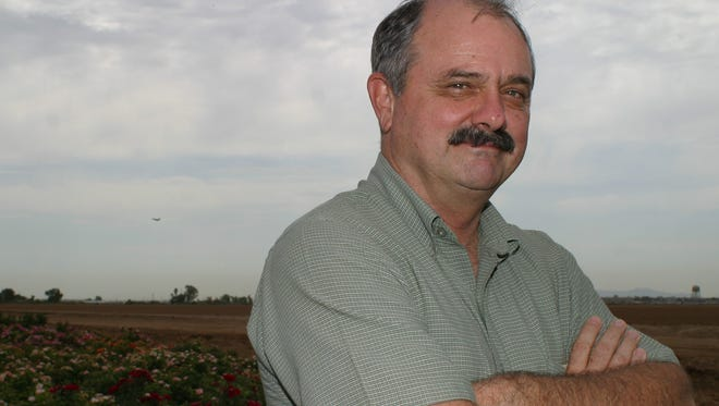 Leyton Woolf at his rose farm in 2003.