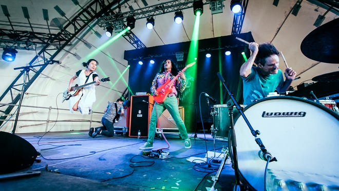 Greg Saunier, on drums at right, co-founded the energetic rock band Deerhoof, which will perform during the 2017 Big Ears Festival.