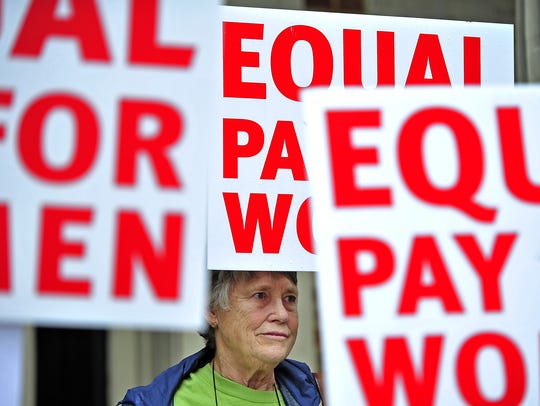 Bette Holmes participates in an Equal Pay for Women