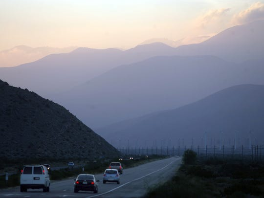 Smog blowing through the Banning Pass is seen from Palm Springs, Thursday, April 21, 2011.The Coachella Valley often suffers from poor air quality due to smog moving in from LA and particulates stirred up by storms.