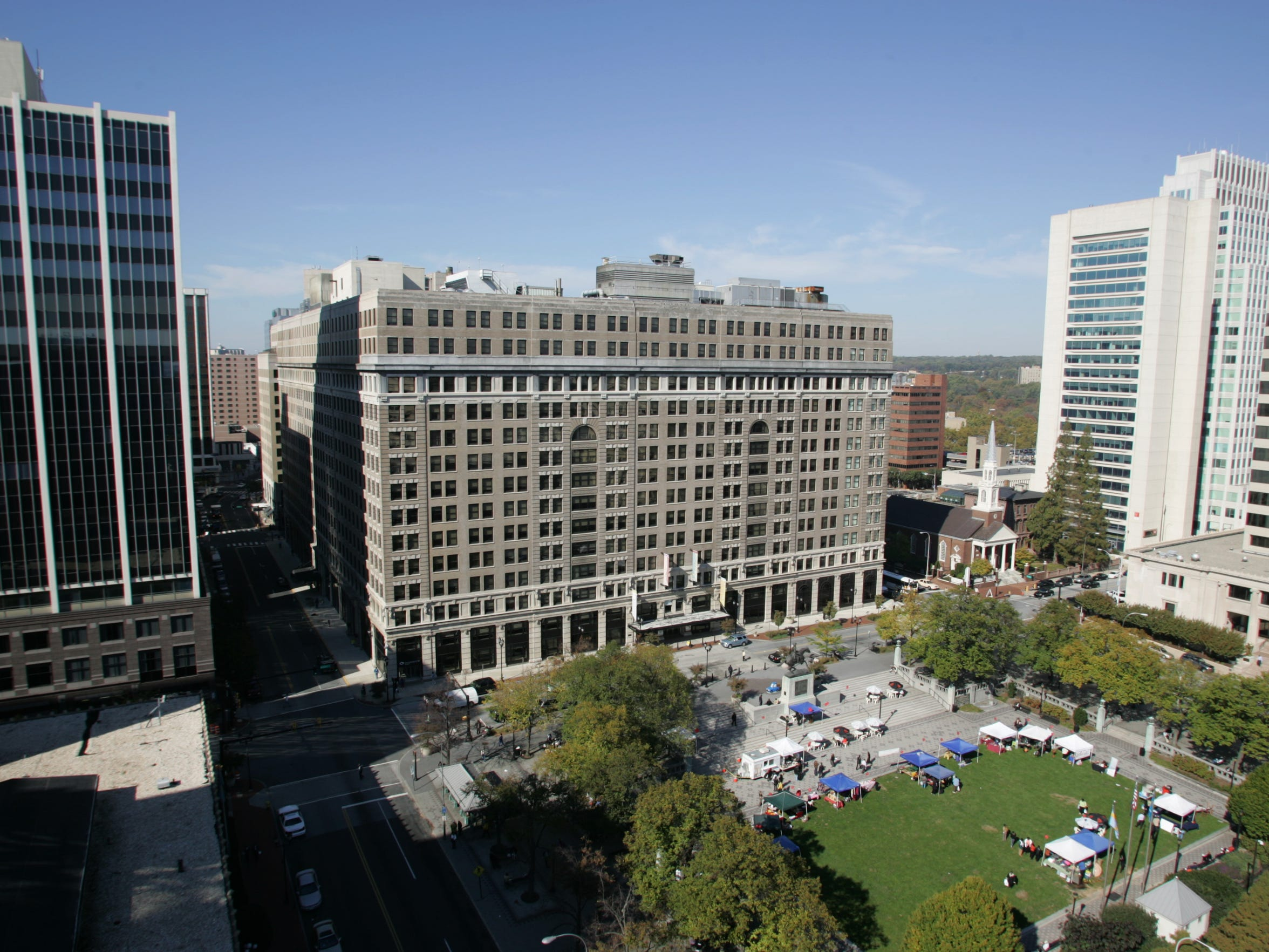 The DuPont building overlooks Wilmington's Rodney Square.