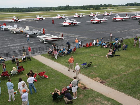 A row of Canadian Snowbirds planes are parked before a practice at the Anderson Airshow in 2015.