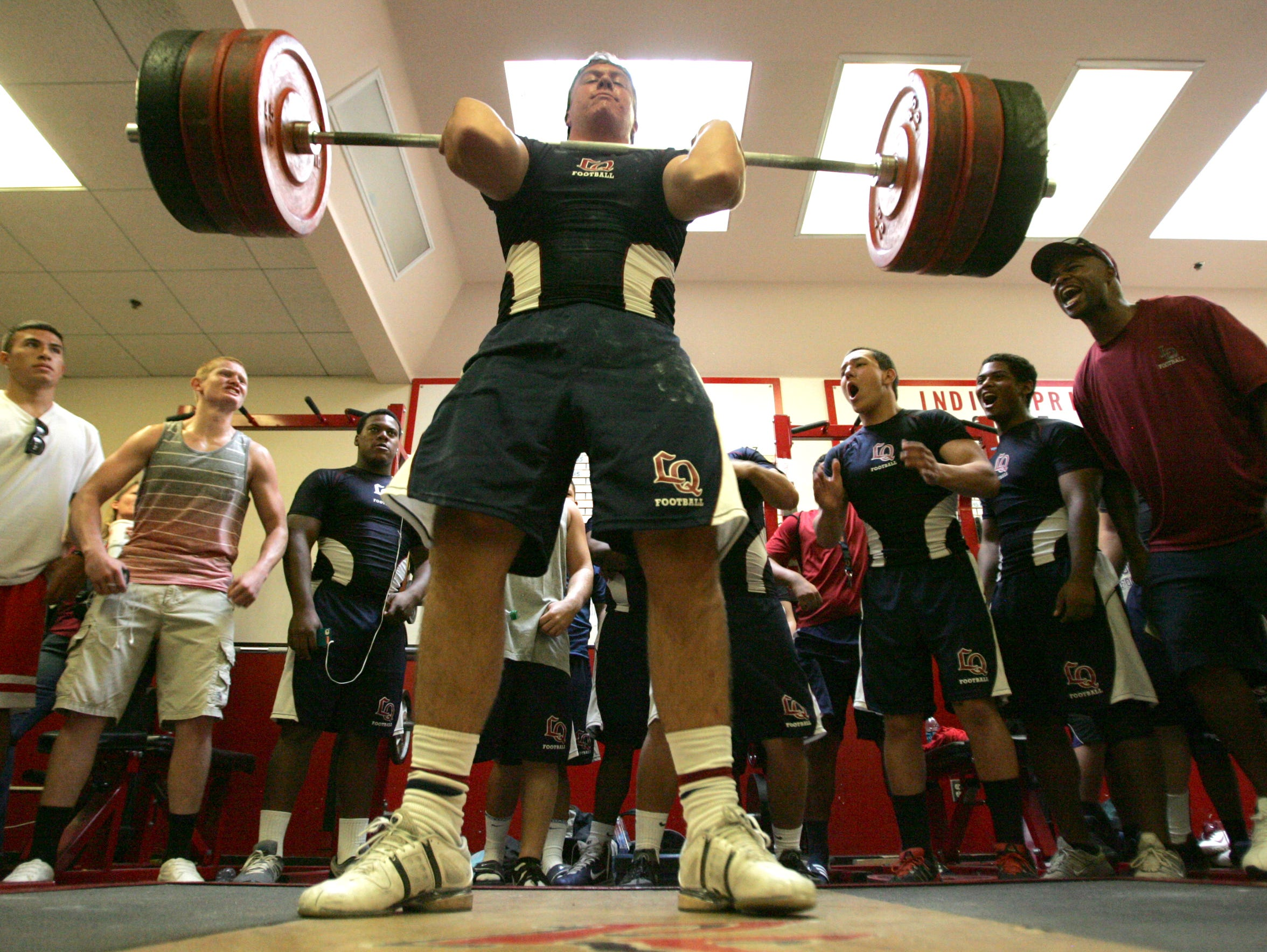 Ben Simonds, shown here at 16, power cleans 350 lbs