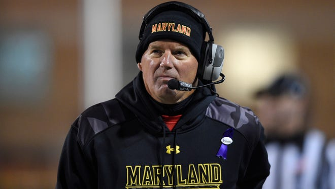 Maryland coach Randy Edsall watches during the first half of an NCAA college football game against Michigan State, Saturday, Nov. 15, 2014, in College Park, Md.