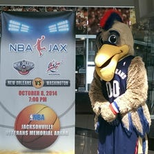 The New Orleans Pelicans mascot was on hand to help make the announcement that the NBA is returning to Jacksonville on October 8, 2014.