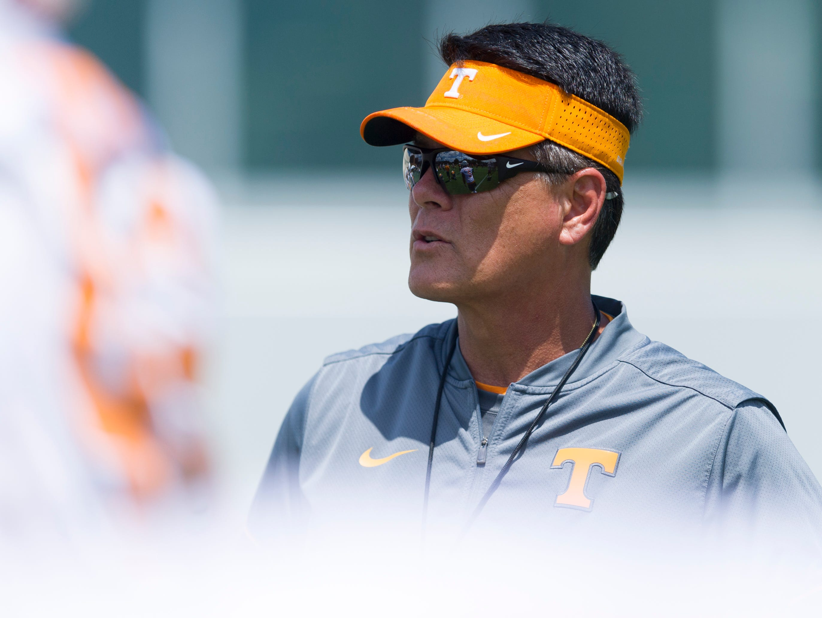 Tennessee Quarterbacks Coach Mike Canales during Tennessee Volunteers fall practice at Anderson Training Facility in Knoxville, Tennessee on Saturday, July 29, 2017.