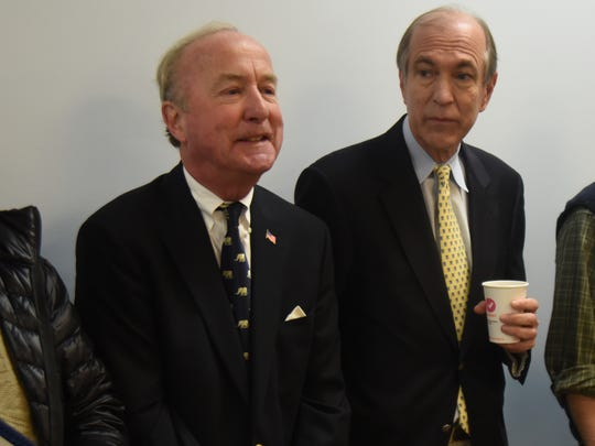 Reps. Rodney Frelinghuysen, left, and Scott Garrett wait to address Passaic County Republicans during a screening committee meeting in Wayne in March 2016.