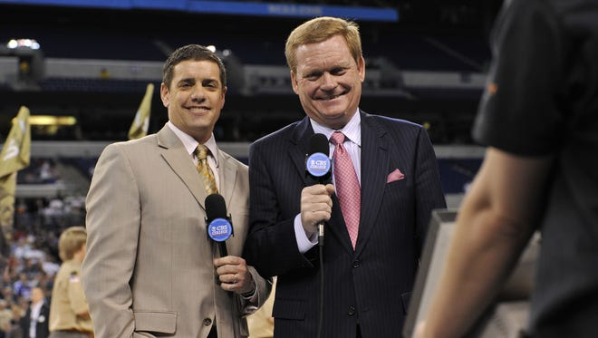 CBS Sports Network analyst and former Xavier basketball coach Pete Gillen (right) is shown here with fellow announcer Dave Ryan. Gillen believes the Cincinnati Bearcats could make a run to the 2018 NCAA Final Four.