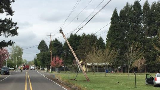 A crash knocked over a utility pole on Swegle Road Monday morning.