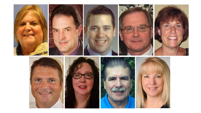 Candidates (from left) top: Julie Conn, Jeff Long, Mike Mantua, Jim Pearson and Denise Pistana; and bottom: Susan Spelker; Jeff Stander, Tom Wiseman and Sherry Zylka.