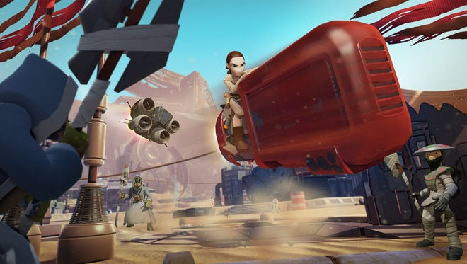 """Get into the game with Rey and her Speeder in the """"Force Awakens""""play set for """"Disney Infinity."""""""