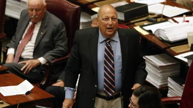 Sen. Thomas Libous, R-Binghamton, debates medical marijuana legislation in the Senate Chamber at the Capitol on June 20.