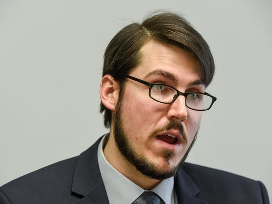 In this January 2018 file photo, DFL Congressional candidate Ian Todd talks about his campaign.