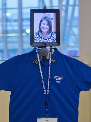 Double Robot will allow airport customer-service agents at Indianapolis International Airport to interact with passengers through an iPad attached to a Segway-like device.
