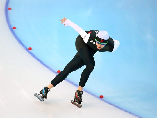 Maria Lamb of the United States practices during a speed skating training session ahead of the Sochi 2014 Winter Olympics at Adler Arena Skating Center on February 5, 2014 in Sochi, Russia.