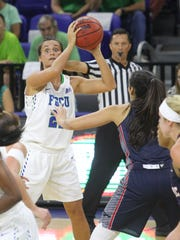 FGCU's Jaime Gluesing searches for an open player during