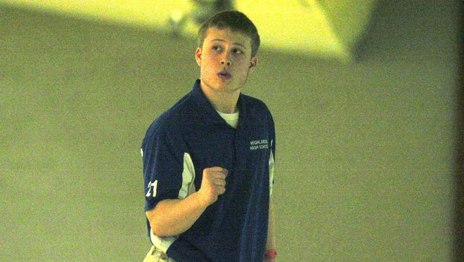 Highlands' Jake Farley celebrates a strike at the KHSAA state singles championship on Thursday. The senior finished in fourth and earned his second state medal.