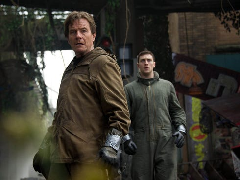 Bryan Cranston, left, and Aaron Taylor-Johnson face an enormous threat in 'Godzilla.'