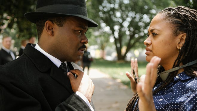 David Oyelowo, left, as Martin Luther King Jr., discusses a scene with director Ava DuVernay on the set of 'Selma.'
