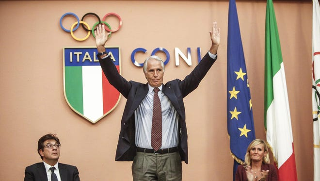 Olympic Committee (CONI) President Giovanni Malago holds a press conference in Rome, Italy.